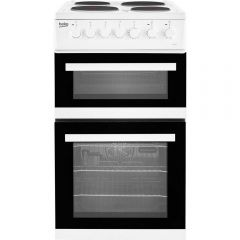 Beko EDP503W Fanned Double Oven Solid Plates