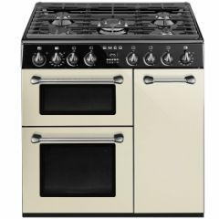 "SMEG 90cm ""Burghley"" Dual fuel 3 cavity Cooker with Gas hob, Cream,"