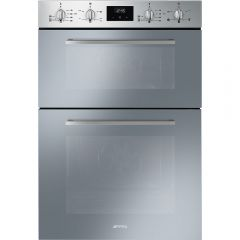Smeg DOSF400S Cucina Multifunction Double Oven, Finger-Friendly Stainless Steel + Silver Glass