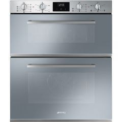 Smeg DUSF400S Cucina Double Under Counter Multifunction Oven,Finger-Friendly Stainless Steel