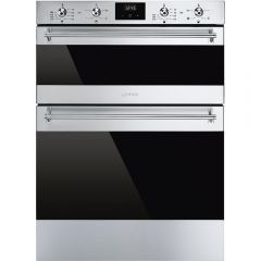 Smeg DUSF6300X Classic Multifunction Double Under Counter Oven, Stainless Steel + Eclipse Glass
