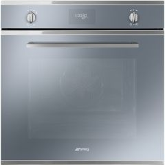 Smeg SFP6401TVS `Cucina` Pyrolytic Multifunction Oven, Silver Glass